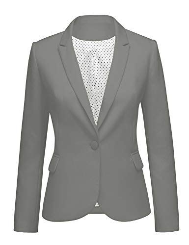 LookbookStore Women's Casual Grey Blazer Front Buttons Shoulder Pads Work Office Business Blazer Jacket Suit Size S