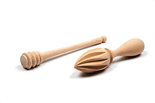 GOOD WOOD|Wooden Honey Dipper Stick and Wooden Lemon Citrus Juicer Reamer Squeezer |Used For Squeezing The Food Vegetables Fruits|Best For Squeezing Citrus, Fruits and Scooping Honey|Set Include 2 pcs
