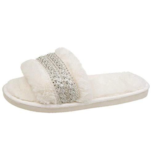Zquest Zapatillas Mujer, Zapatillas Moda Mujer, Zapatillas Planas Calientes En Otoño E Invierno-White_39