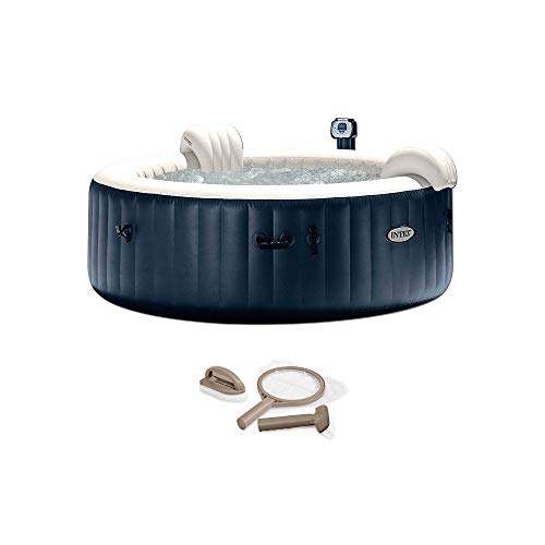 Intex 28409E PureSpa 6 Person Home Outdoor Inflatable Portable Heated Round Hot Tub Spa 85-inch x 28-inch with 170 Bubble Jets, Built in Heat Pump and Spa Maintenance Kit