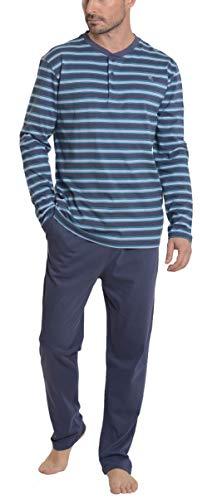 El Búho Nocturno - Pigiama Due Pezzi da Uomo a Manica Lunghi a Righe   Abbigliamento da Notte Moderno per Signori - Lavorato a Maglia, 100% Cotone - Taglia L - Blu Verdastro, Navy Blu e Blu Acciaio