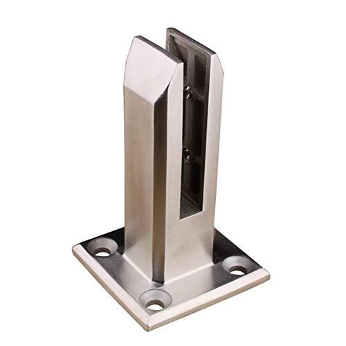 10 abrazaderas de cristal de acero inoxidable de 6 a 12 mm 53 x 33 x 20 mm parte trasera plana escalera soporte de cristal ajustable acabado cepillado para barandilla