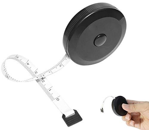 巻尺 ワンタッチ 巻取りボタン 自動巻きとり 軽量 薄型 コンパクト メジャー 巻き尺 ロールメジャー ポータブル テープ 定規 尺 両面目盛 150cm/60inch ロータリーメジャー オートメジャー 裁縫 手芸 簡単 寸法 測定 採寸 (BLACK-