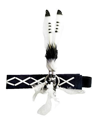 TheworldoffeathersDiadema de plumas para adultos | inspirada en los nativos americanos indios | accesorio divertido para disfraz | tocado para la cabeza, Talla única, Blanco/Negro, 1.00[set de ]