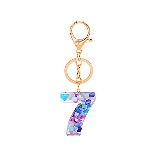 numéro Porte-clés lucky Étiquette Numérotés de 0 à 9 Porte-clés Pendentif Acrylique breloques accessoires pour femmes et homme clé de voiture sac à main, bleu, avec boîte-cadeau