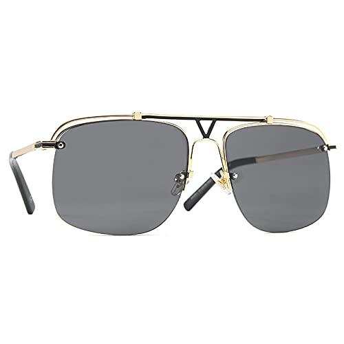 Gafas De Sol De Gran Tamaño Vintage para Hombre, Anteojos Semi Sin Montura De Doble Haz para Gafas Al Aire Libre, Montura De Metal, Sombras, Blackgreylens