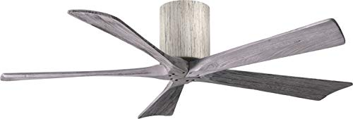 Matthews IR5H-BRBR-WA-52 Irene 52' Outdoor Hugger Ceiling Fan with Remote & Wall Control, 5 Wood Blades, Brushed Brass