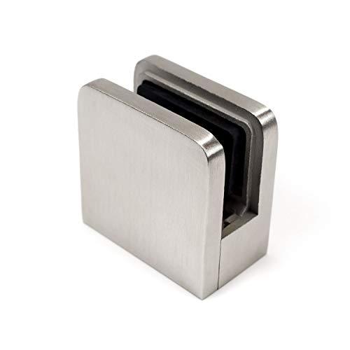 Klemmhalter Viereck 45x45mm V2A poliert Flach Plattenstärke für 8mm Platten