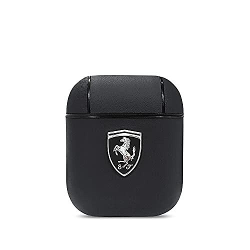 Ferrari- Apple Airpods 1 +2 Off Track Leder Erscheinungsbild Cover Ring Schwarz Schutzhülle Cover Tasche Hülle