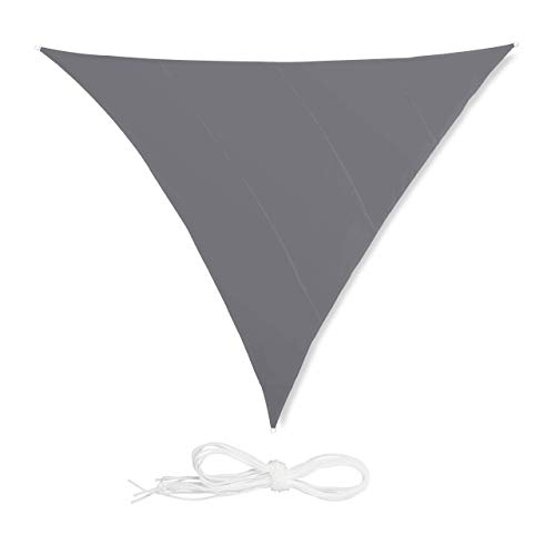 relaxdays Voile d'ombrage Triangle diffuseur d'Ombre Protection Soleil Balcon Jardin UV 5x5x5 m Toile imperméable, Gris