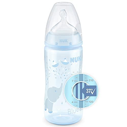 NUK First Choice+ biberon   0-6 mesi   Controllo temperatura   Sfiato Anti-Colica   Senza BPA   300 ml   Tettarella in silicone   Blu