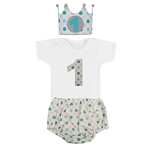 Kembilove Conjunto Cumpleaños de 4 piezas para Bebé de 1 año – Corona, Body, Cubrepañal y Vela – Disfraz para sesiones de fotos de Cumpleaños – Diseño Lunares Azul 12 -18 Meses