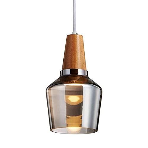Zsjb Lámpara de Techo pequeña de Vidrio Gris Humo Moderno Creativo Nórdico Candelabros de Vidrio de Colores Decoración de Madera Restaurante Dormitorio Bar Little Pannd Light