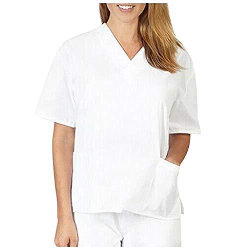 Zilosconcy Arbeitskleidung Kurzarm T-Shirts V-Ausschnitt Tops Pflege Medizin Arzt Uniform Berufsbekleidung Krankenschwester Kleidung mit Tasche Damen Uniformen Oberteil WeißS