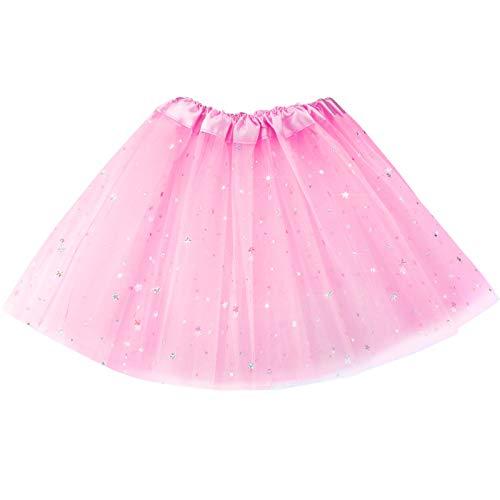 Mädchen 2-8 Jahre Tutu 3 Schichten Tüll Paillette Ballett Tanz Rock (Schwarz) (Rosa)