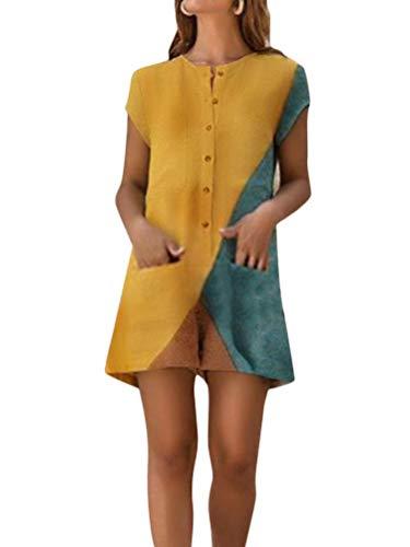 Minetom Jumpsuits Damen Sommer Kurzarm Farbblock Strampler Overall mit Taschen Sommer Vintage Tasten Playsuit Shorts Kurze Hosen Gelb DE 42
