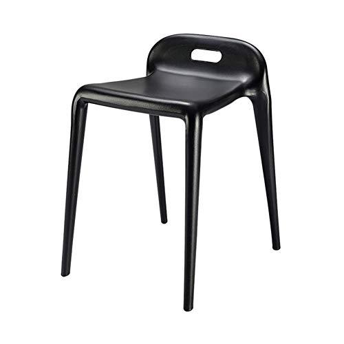 DX Silla, apilable de una Pieza Silla de Caballo Simple hogar Sala de Estar/Comedor Silla de plástico de Ocio 8 Colores Negro
