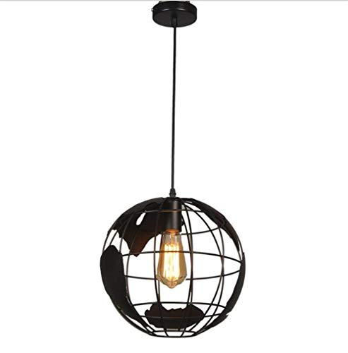 HLL Lámpara de araña, vintage, industrial, mate, globo negro, forma de globo, de hierro, para colgar en el techo o en el interior
