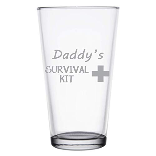 Daddys Survival Kit, Funny 16 oz Pint Glass, Permanently Etched, Gift for Dad, Co-Worker, Friend, Boss, Christmas, New Dad Gift, First Fathers Day, PG14