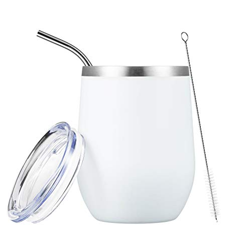 COMOOO White Stainless Steel Wine Tumbler with Lid and Straw 12oz Double Wall Vacuum Insulated Travel Tumbler Cup Stemless for Hot and Cold Drinks, Coffee, Wine, Cocktails (White, 1 Pack)