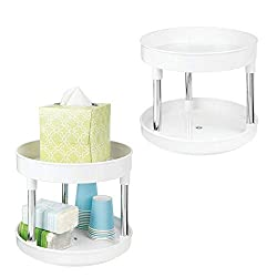 lazy susan to declutter small bathrooms