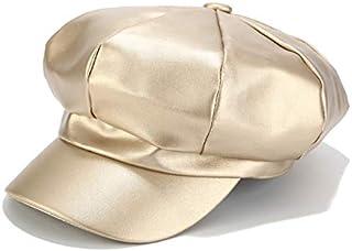 Men/'s PU Leather Plain Winter Cap Fashion Simple Baseball Shiny Bike Moto Hat