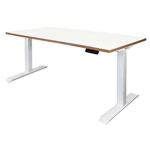 Novigami Schreibtisch elektrisch höhenverstellbar Ototo | BxT 1600 x 800 mm | Weiß-Multiplex | Tischgestell Stehtisch Bürotisch Tischplatte