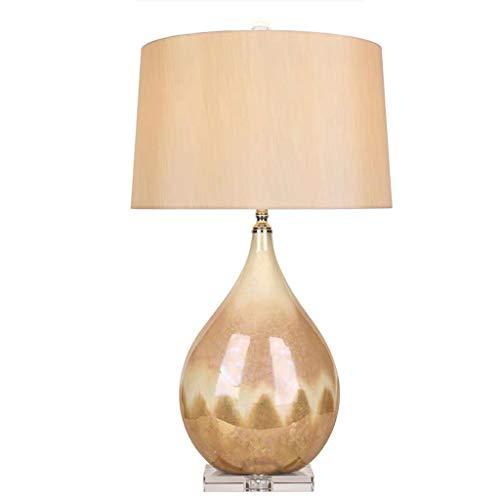 Lampara Mesilla Perla glaseado de cerámica lámpara de escritorio creativo agua de gota de noche lámpara de mesa de noche de tela hecha a mano de tela pantalla de cristal base moderno dormitorio sala d