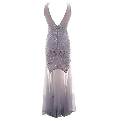 iYmitz Damen Frauen Jahrgang V-Ausschnitt Ärmellos Partykleider Flapper Kleid Ballkleid Paillette Etuikleid