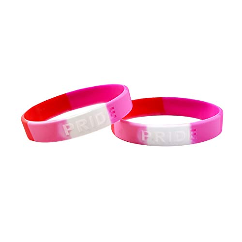 Fundraising For A Cause | Lesbian Pride Flag Silicone Bracelet - Pink Silicone Bracelet for Lesbian Pride (1 Bracelet - Retail)