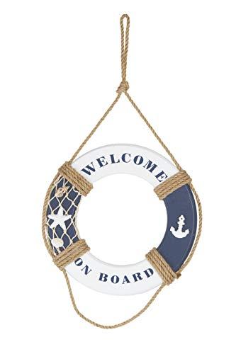 HEITMANN DECO Holz-Rettungsring Welcome on Board in blau-weiß - Maritime Dekoration für innen - zum Aufhängen - Badezimmer
