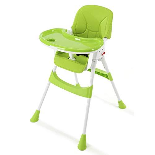 YShop Chaise Haute for bébé Pliable, Plateau à Profondeur réglable avec Dossier, siège Pliant for rehausseur Confort for Enfant en Bas âge ( Color : Green )