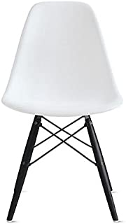 2xhome Mid Century Modern Dining Side Chair with Black Wood Legs, White