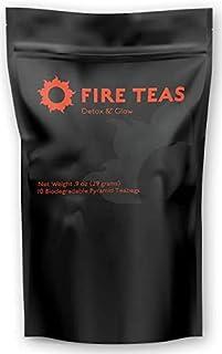 FIRE TEAS - DETOX & GLOW - Ayurvedic Cleanse Tea- Organic Turmeric, Ginger, White Tea (Bai Mudan), Cardamom, Cinnamon & Sa...