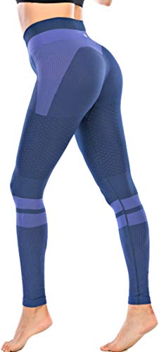 RUNNING GIRL Contrast High Waist Leggings for Women,Butt Lifting Tummy Control Compression Workout Yoga Pants(CK2580.Navy.S)