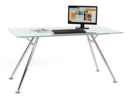 My_office Mega Scrivania, Bianco, 150x80x76 cm, vetro