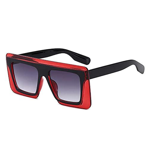 XDOUBAO Gafas Gran marco gafas marea tinta espejo espejo molde de cobre hembra gafas de sol de dos colores-Vino rojo/doble gris