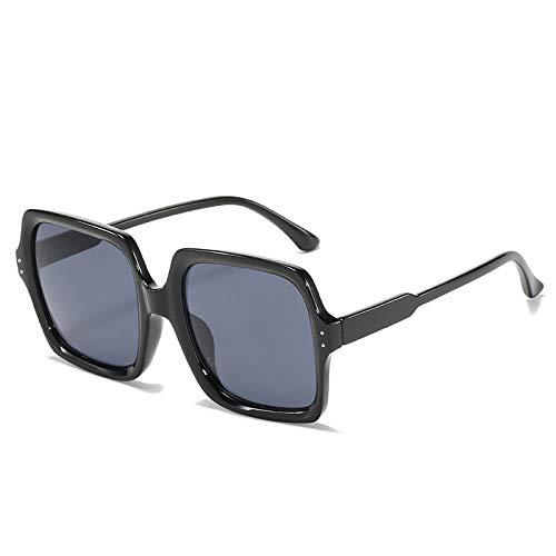 QINGZHOU Gafas de Sol,Tendencia de moda: gafas de sol de montura grande, color champán, gafas de sol retro midin, gafas de pasarela de tiro callejero, copos negros y grises brillantes