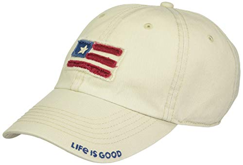 Life is good Unisex Tattered Chill Flag Applique BONE, One Size