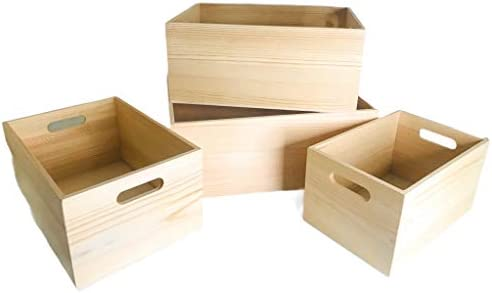 4 Pack Storage DIY Unfinished Wood Crates Cutout Handles Decorative Nesting Wood Box for Storage product image