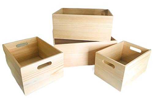 4 Pack Storage DIY Unfinished Wood Crates Cutout Handles, Decorative Nesting Wood Box for Storage, Organization and Display, Set of 4