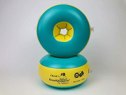 Kraulquappen Cherek´s Anfänger grün/gelb Schwimmflügel für Kinder Babys ab dem 8 Monat bis 30kg, TÜV Süd Zertifiziert