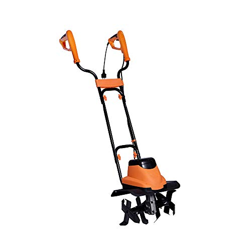 Cloud Mountain Finefind Powerful Electric Tiller 8-Amp,15-Inch,2-Steel Blades with 380rpm,14.2in.Wide by 7.9in.Deep Foldable Corded Cultivator for Garden,Lawn(Orange)