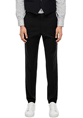 s.Oliver BLACK LABEL Herren Slim Fit: Hose aus Schurwolle Black 54