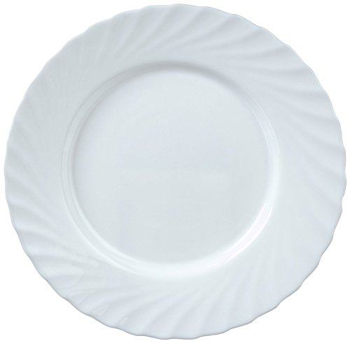 Arcoroc ARC D6888 Trianon Uni Teller flach, 27.3cm, Opalglas, weiß, 6 Stück