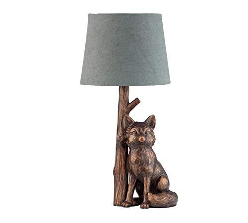 Delex® Schöne Bronze & Grau Fuchs Tischlampe mit Push-On/Off-Schalter.