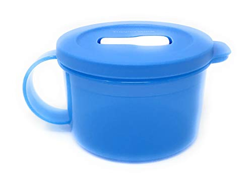 Tupperware Medium Blue Crystalwave Microwave Soup Mug 16 Oz. NEW