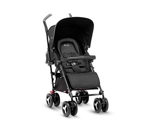 Silver Cross Reflex Stroller, Compact and Lightweight Fully Reclining Baby to Toddler Premium Pushchair – Onyx