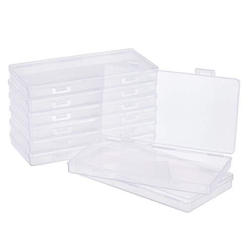 BENECREAT 8 Pack Caja Rectángula de Plástico Transparente 16.5x9x1.6cm para Almacenamiento de Cuentas con Tapas Abatibles para Lápices, Herramientas de Vinilo y Otros Artículos