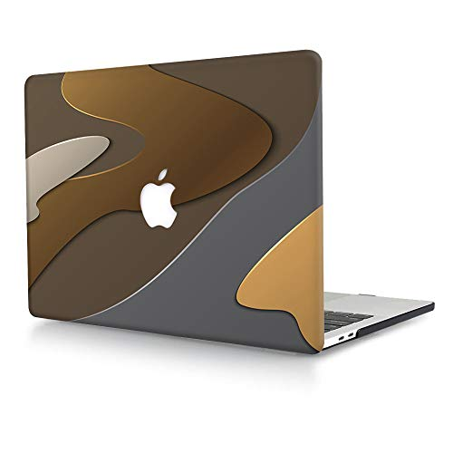 ACJYX Case Compatible with MacBook Pro 15 inch with Touch Bar 2016 2017 2018 2019 Release Model A1990 A1707, Matte Plastic Hard Shell Case Protective Cover - Khaki & Gray